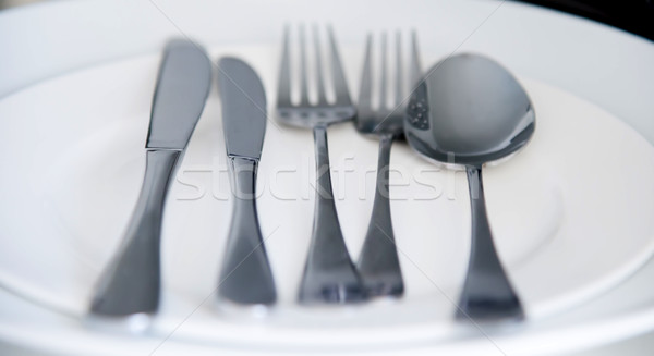 Fork, Spoon and Table Knife on the white background Stock photo © vlaru