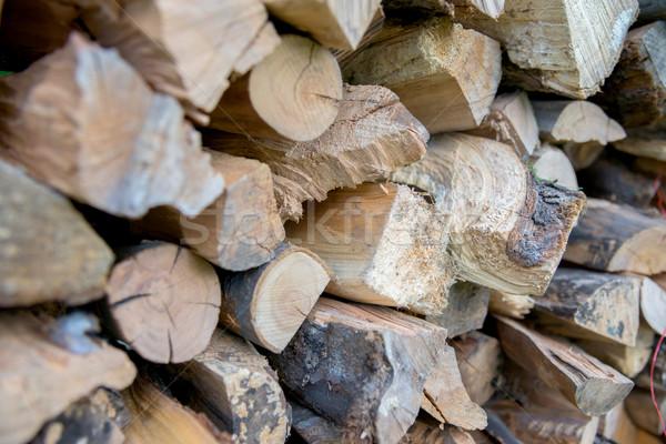 dry chopped firewood logs in a pile Stock photo © vlaru