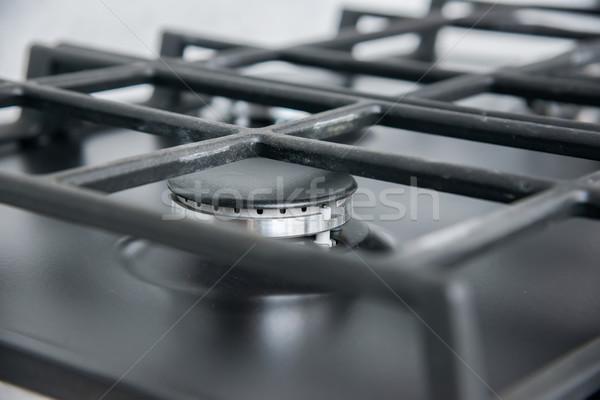 New and modern shining metal gas cooker Stock photo © vlaru