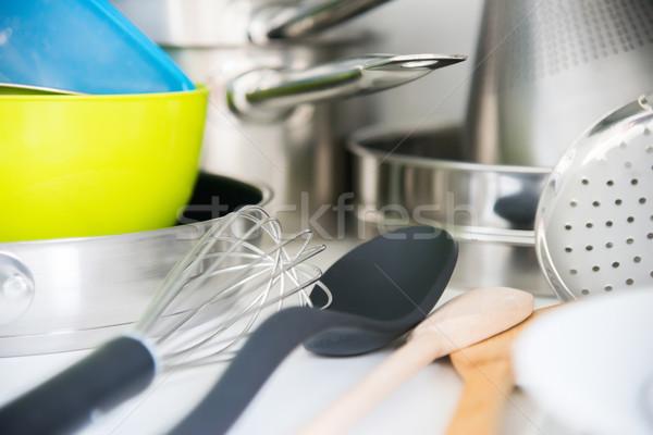 Tafelgerei plank keuken voedsel hout Stockfoto © vlaru