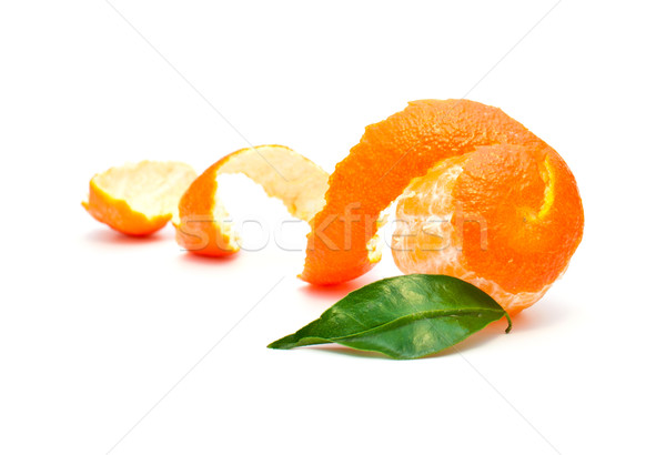 Stockfoto: Mandarijn- · huid · groen · blad · witte · isolatie · voedsel
