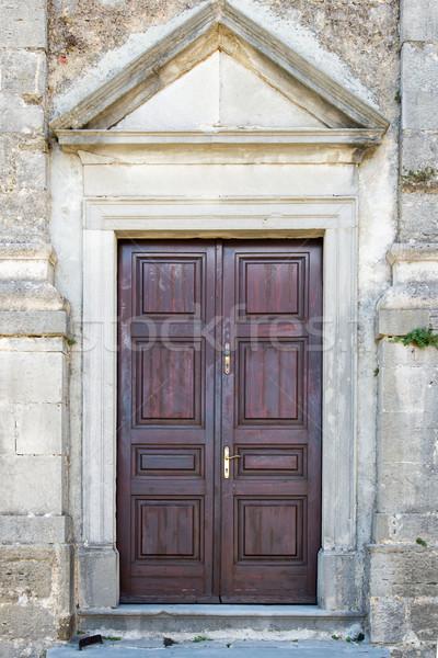 double-wing front door brown Stock photo © vlaru