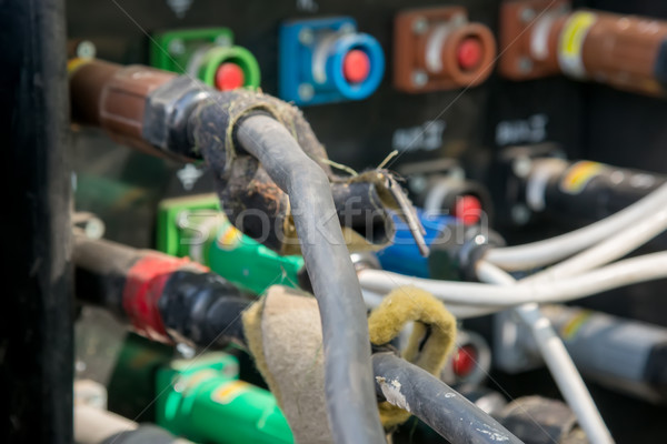 electrical power cables connected to a temporary outdoors distribution station Stock photo © vlaru