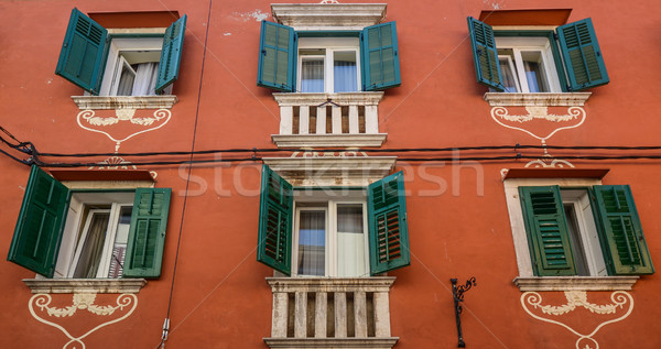 Windows and walls in old town Rovinj Croatia Stock photo © vlaru