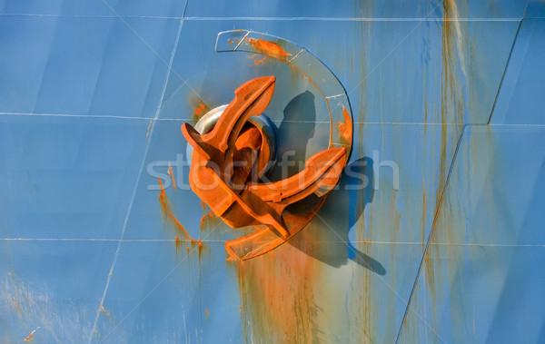 Kotwica pokładzie statku statek towarowy morza Zdjęcia stock © vlaru
