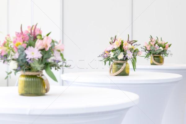 beautiful flower arrangement on white festive tables Stock photo © vlaru
