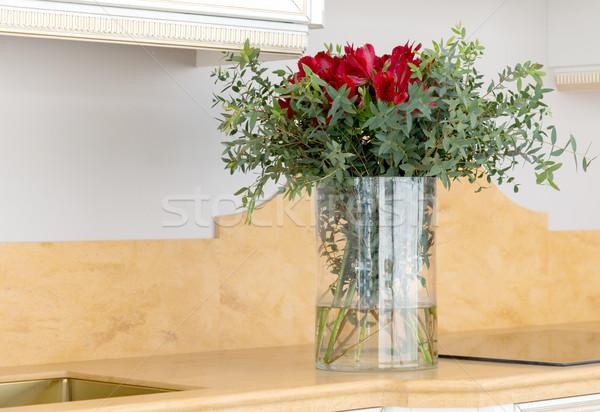 美しい 花 アレンジメント ガラス 花瓶 紙 ストックフォト © vlaru