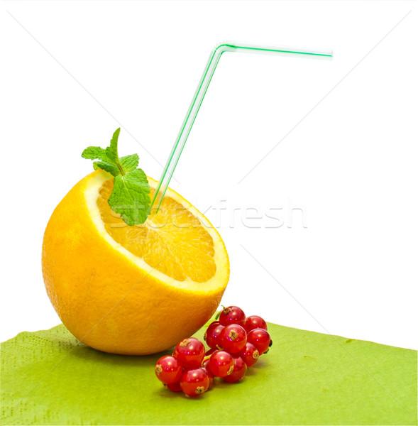 Pomarańczowy słomy biały żywności tle lata Zdjęcia stock © vlaru