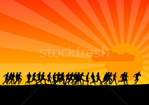 Zonsondergang lopen zwarte silhouetten lopers ontwerp Stockfoto © vlastas