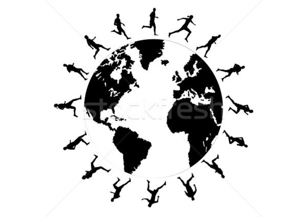 Lopen wereld zwarte silhouetten rond wereldbol Stockfoto © vlastas