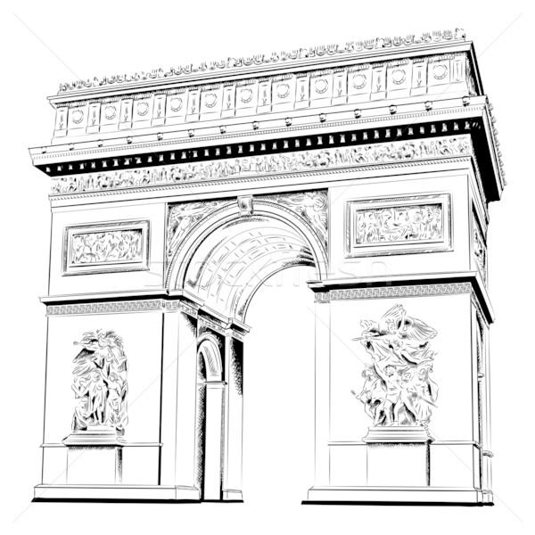 Arc triomphe isolé blanche bâtiment Voyage Photo stock © vlastas