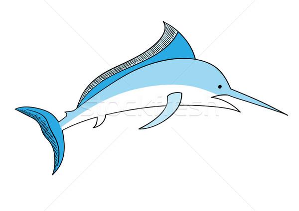 Kılıçbalığı basit vektör yalıtılmış beyaz balık Stok fotoğraf © vlastas