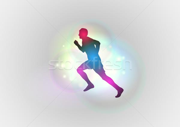 силуэта Runner аннотация дизайна здоровья синий Сток-фото © vlastas