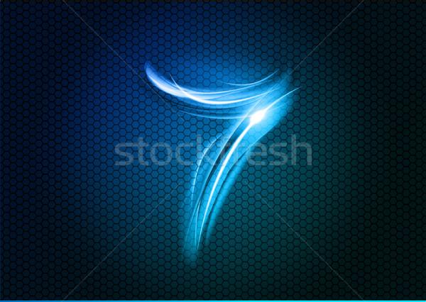 Abstrato sete número grande numérico azul Foto stock © vlastas