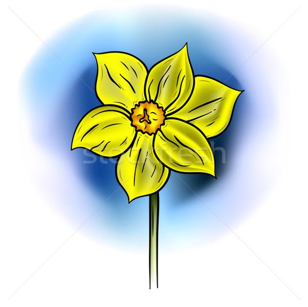 желтый цветок синий весны стороны дизайна лист Сток-фото © vlastas