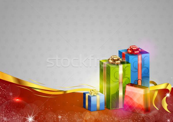 Natal presentes vermelho cinza feliz inverno Foto stock © vlastas