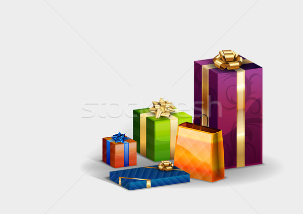 Presentes isolado branco amor projeto caixa Foto stock © vlastas