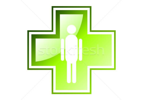 зеленый крест изолированный белый дизайна больницу Сток-фото © vlastas