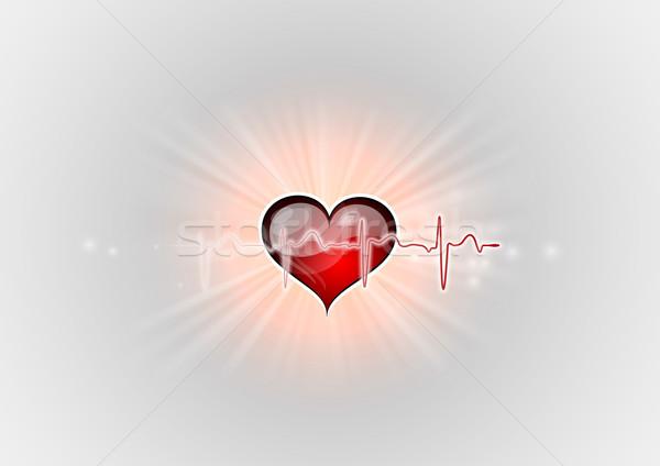 Rood hart cardio curve geneeskunde scherm Stockfoto © vlastas