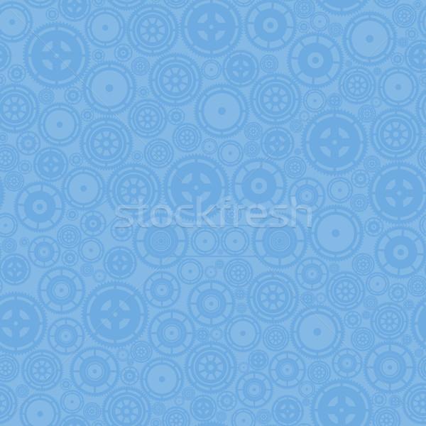 Stock fotó: Kék · fogaskerekek · minta · vektor · végtelen · minta · óra