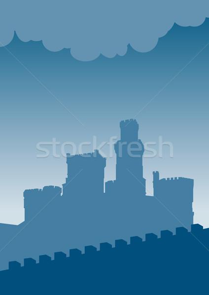 Castelo azul silhueta velho céu casa Foto stock © vlastas