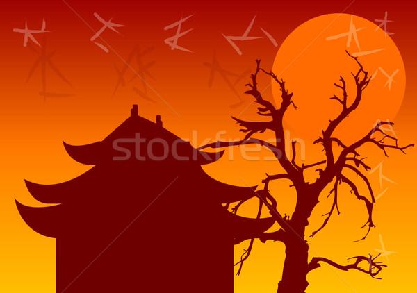 китайский архитектура храма старые дерево солнце Сток-фото © vlastas