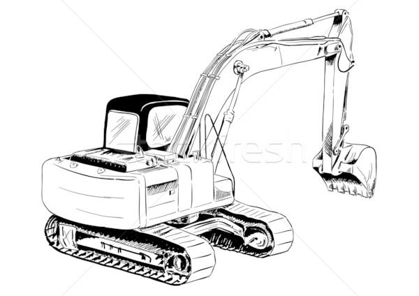 Escavatore nero sketch grande costruzione industriali Foto d'archivio © vlastas