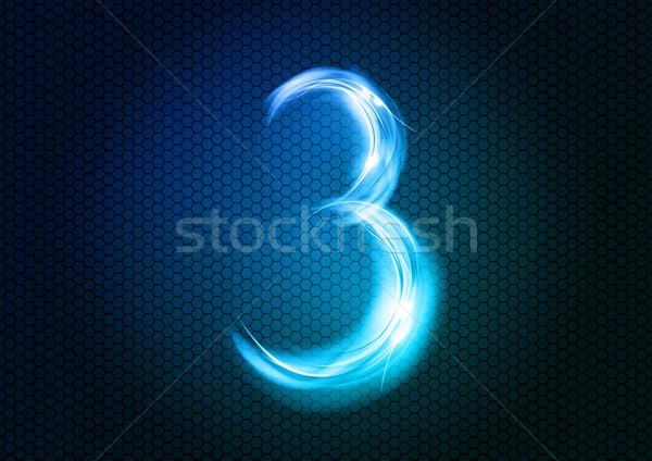 аннотация три числа большой численный синий Сток-фото © vlastas