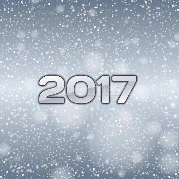 Azul neve queda números ano novo símbolo Foto stock © vlastas
