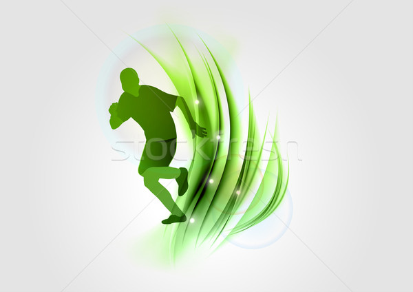 Groene runner silhouet abstract symbool licht Stockfoto © vlastas
