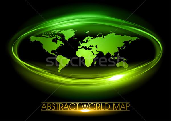 Zielone świat czarny Pokaż streszczenie projektu Zdjęcia stock © vlastas