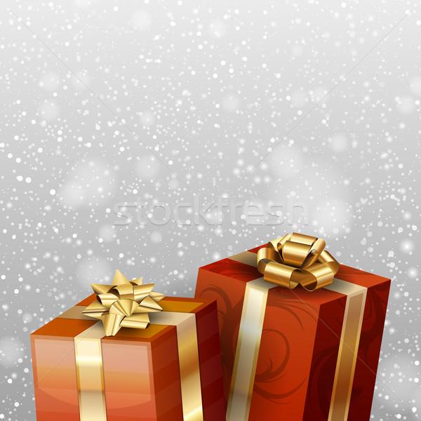 красный подарки падение снега бумаги фон Сток-фото © vlastas