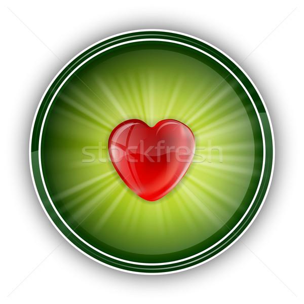 сердце красный центр зеленый свадьба стекла Сток-фото © vlastas