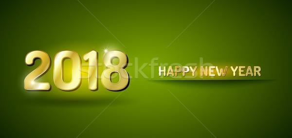 Gelukkig nieuwjaar groene goud kaart vector Stockfoto © vlastas