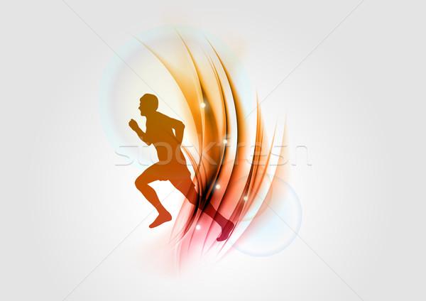 красный Runner силуэта аннотация свет здоровья Сток-фото © vlastas