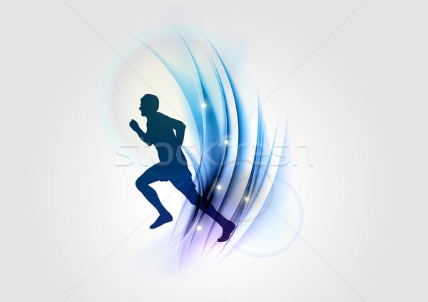 青 スポーツ シルエット 抽象的な ランナー 光 ストックフォト © vlastas