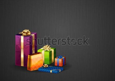 赤 贈り物 グレー 歳の誕生日 ボックス 金 ストックフォト © vlastas