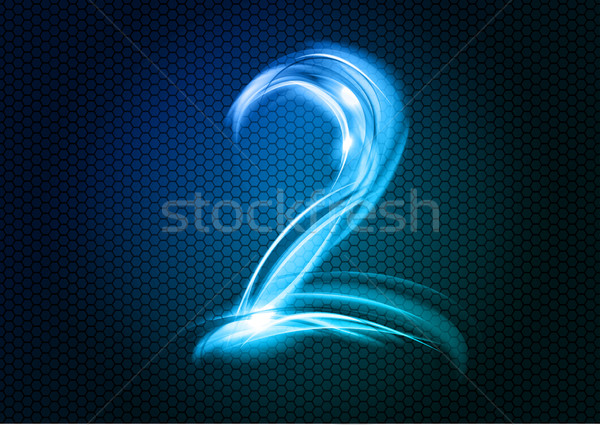 Abstract twee aantal groot numeriek Blauw Stockfoto © vlastas