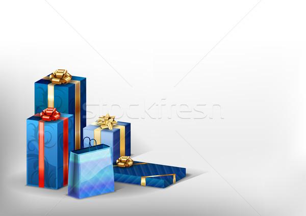 Azul presentes canto branco festa aniversário Foto stock © vlastas