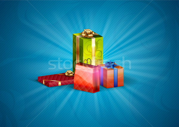 Noël cadeaux bleu résumé anniversaire vert Photo stock © vlastas