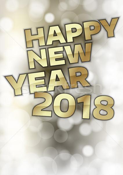 Nieuwjaar abstract goud tekst gelukkig nieuwjaar achtergrond Stockfoto © vlastas