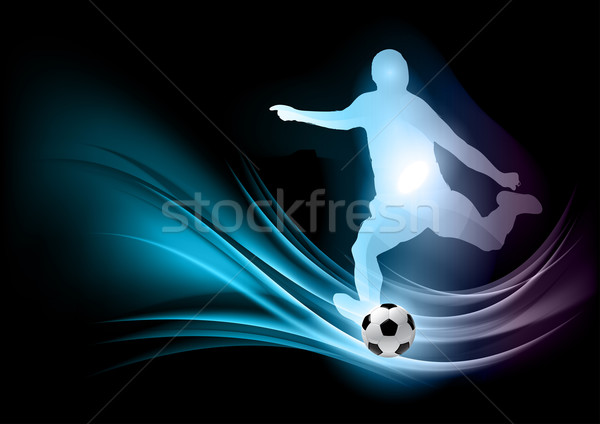 Abstract blu silhouette sport calcio Foto d'archivio © vlastas