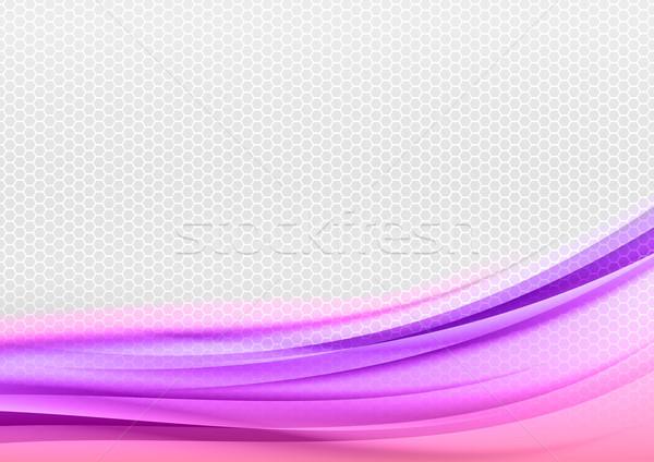 Abstract paars grijs zeshoek kunst behang Stockfoto © vlastas