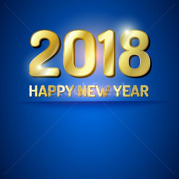 с Новым годом карт синий золото Сток-фото © vlastas