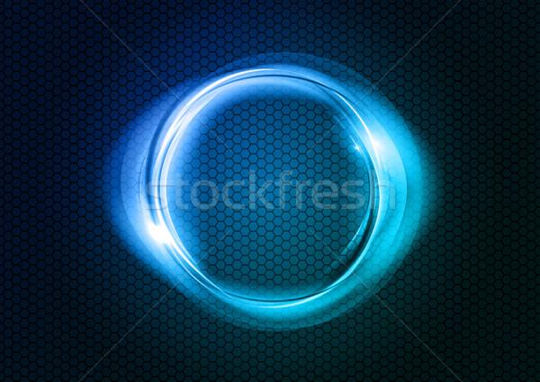 Blauw cirkel licht textuur achtergrond frame Stockfoto © vlastas