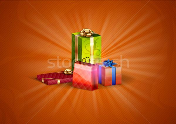 Natal presentes vermelho abstrato aniversário verde Foto stock © vlastas
