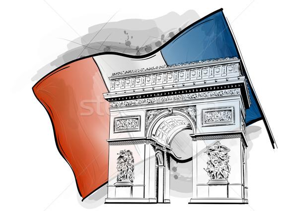 Arc triomphe pavillon bâtiment Voyage noir Photo stock © vlastas