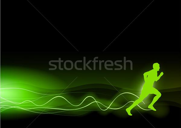 Сток-фото: зеленый · Runner · силуэта · Лучи · аннотация · дизайна