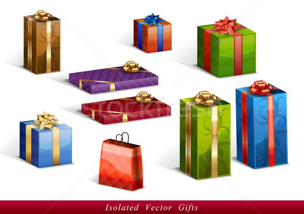 Geschenken geïsoleerd ingesteld vector liefde ontwerp Stockfoto © vlastas