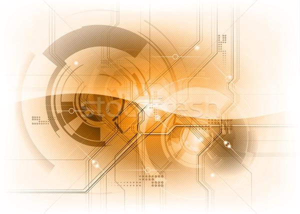 Tech oranje computer internet achtergrond ruimte Stockfoto © vlastas